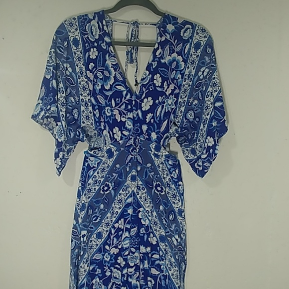 Dresses & Skirts - Navy and Colbalt Blue Floral Maxi Dress
